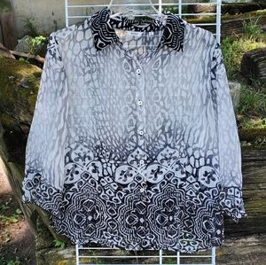 NICOLA Long Sleeve Button Up Sheer Blouse Large